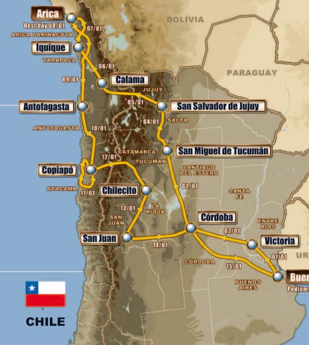 Mapa: Detalle Dakar 2011