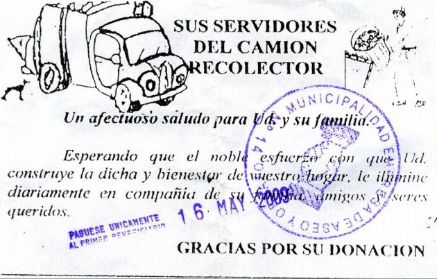 Volante con timbre municipal falso