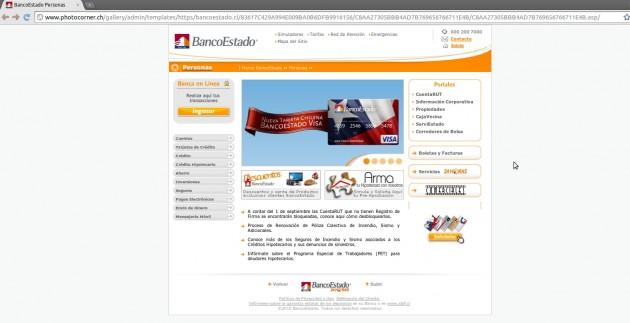Imagen sitio falso de BancoEstado