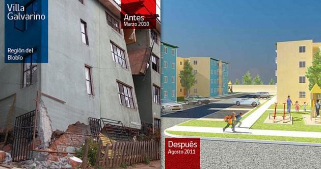 Villa Galvarino en febrero de 2010 y agosto de 2011 | Gobierno de Chile