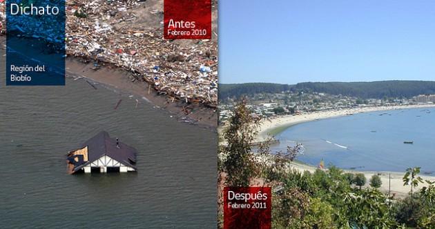 Dichato en febrero de 2010 y 2011 | Gobierno de Chile