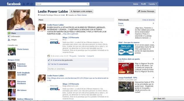Perfil en Facebook de Leslie Power Labbe
