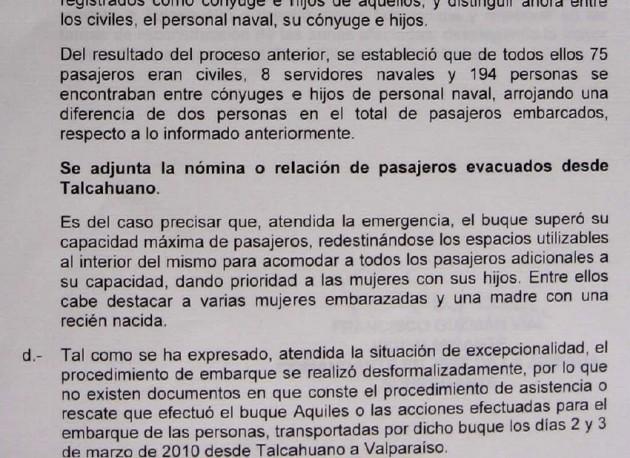 Extracto del documento presentado por la Armada
