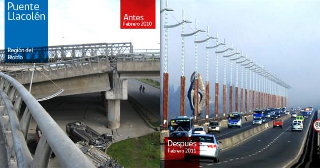 Puente Llacolén en febrero de 2010 y 2011 | Gobierno de Chile