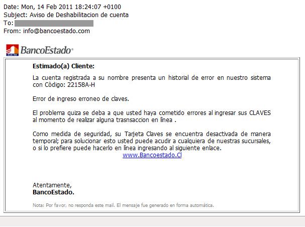 Correo fraudulento a clientes de BancoEstado