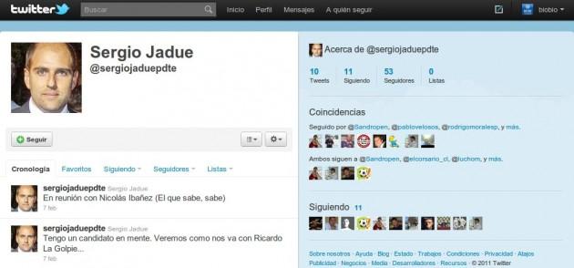 Supuesta cuenta de Twitter de Sergio Jadue