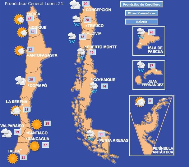 Pronóstico de la Dirección Meteorológica de Chile