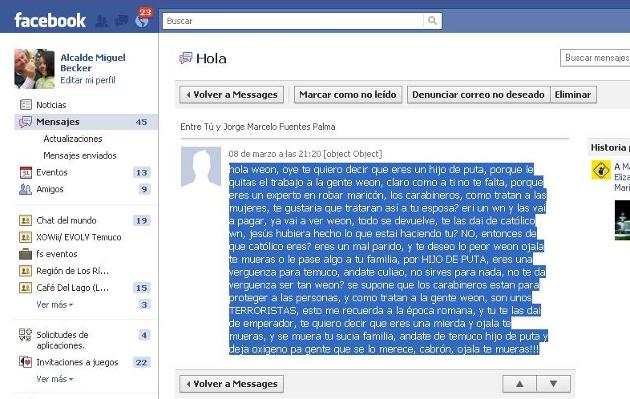 Amenaza a través de Facebook