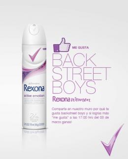 Rexona Women en Facebook.