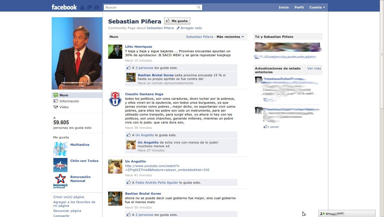Presidente Piñera en Facebook