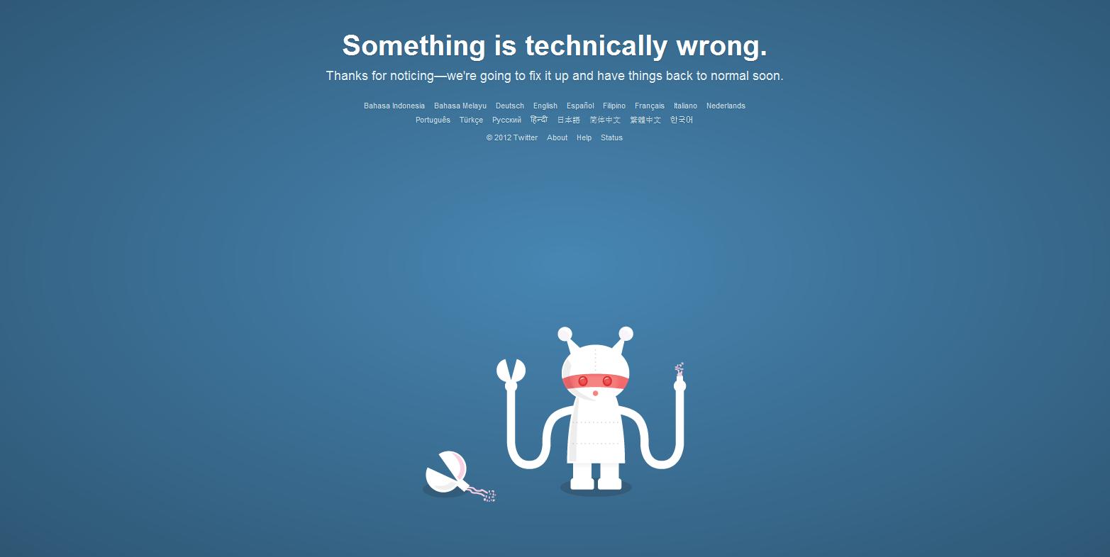 Mensaje de error de Twitter