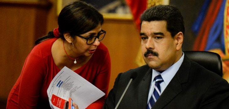 Delcy Rodríguez y Nicolás Maduro | AFP