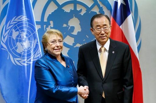 Presidenta Michelle Bachelet junto al Secretario General de la ONU Ban Ki-moon | Agencia AFP