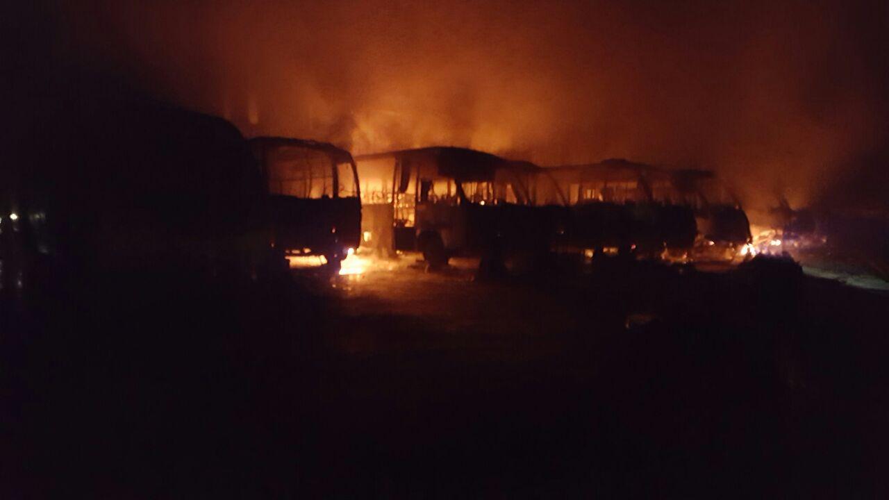 Incendio buses. Villa Alemana