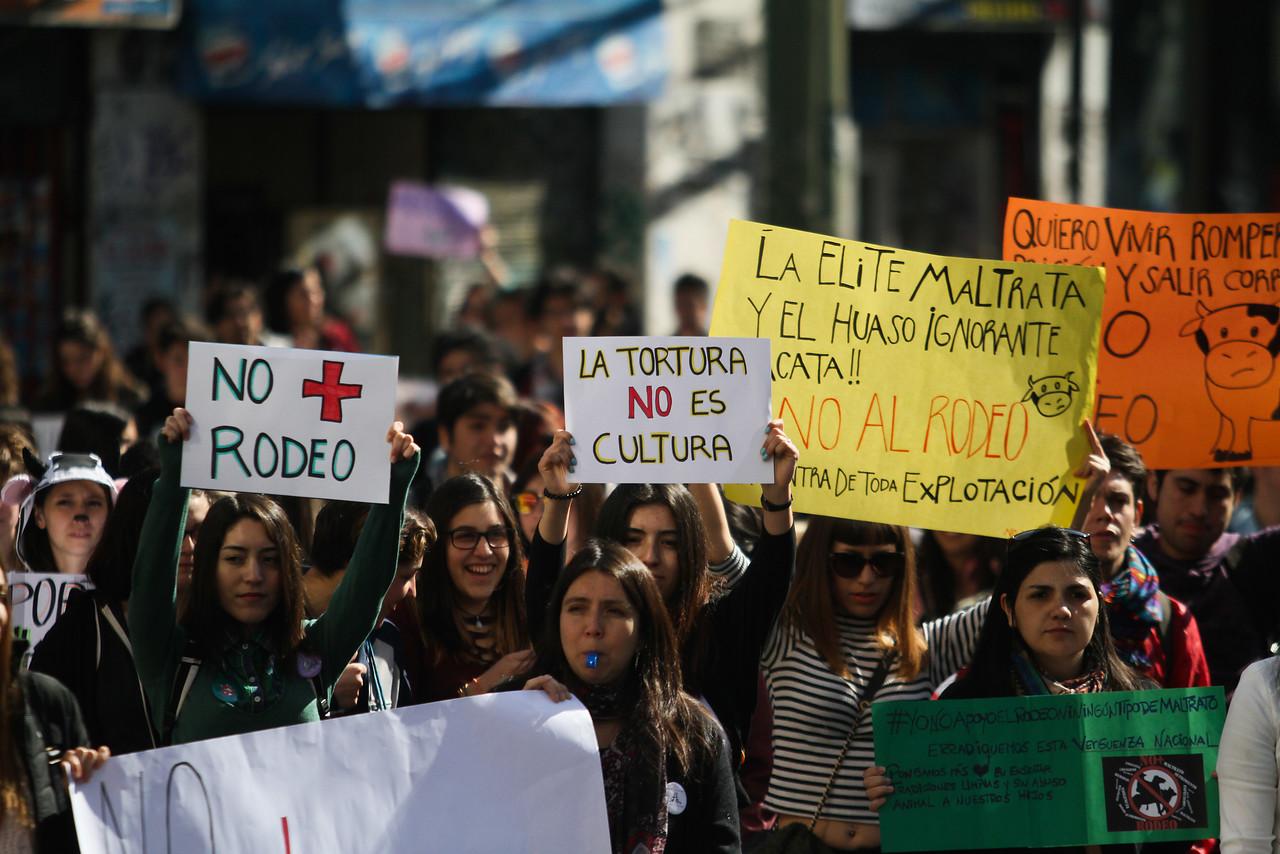 marcha contra el rodeo en Valparaíso