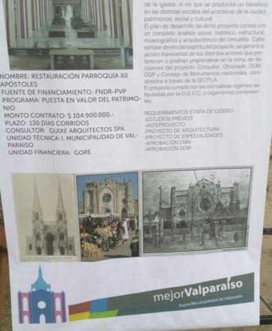 Afiche que muestra la restauración que se realizará de la Iglesia XII Apóstoles de Valparaíso