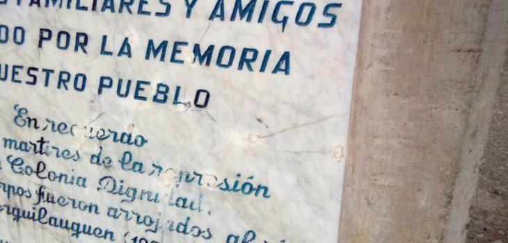 Balas en memorial construido para recordar a Detenidos Desaparecidos y Ejecutados