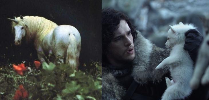 "Izquierda: unicornio, Pinterest   Derecha: Jon Snow y su direwolf en ""Game of Thrones"""