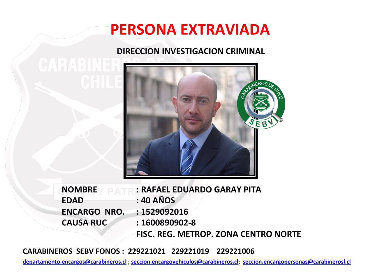 Garay reportado como persona extraviada.