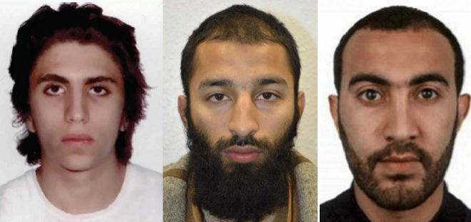 Youssef Zaghba, Khuram Shazad Butt y Rachid Redouan | Policía Metropolitana de Londres