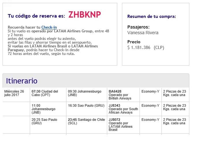 Itinerario del vuelo
