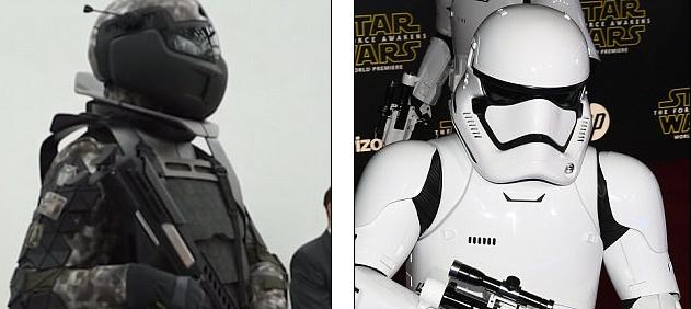 Nuevo traje de combate ruso (izquierda) y un Stormtrooper de Star Wars (derecha)