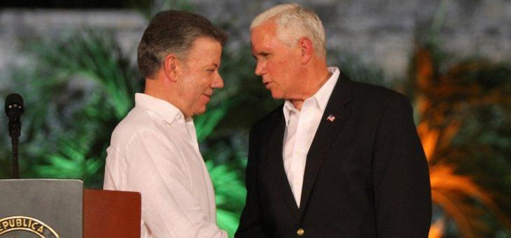 Juan Manuel Santos y Mike Pence | Agence France-Presse