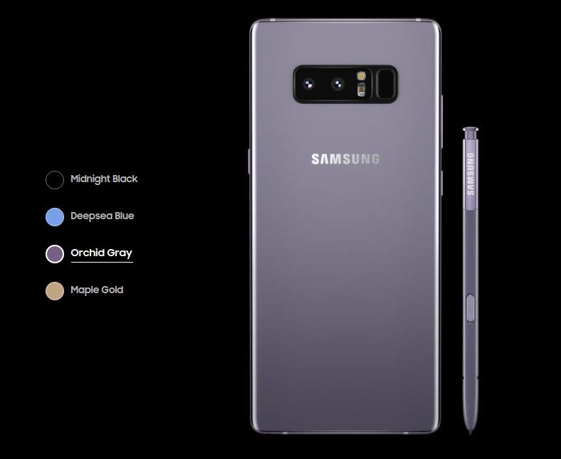 Samsung Galaxy Note 8 en gris orquídea