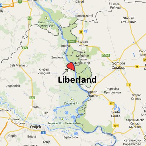 A la izquierda, Croacia. A la derecha, Serbia. Al centro, marcada en rojo, Liberland | Liberland.org
