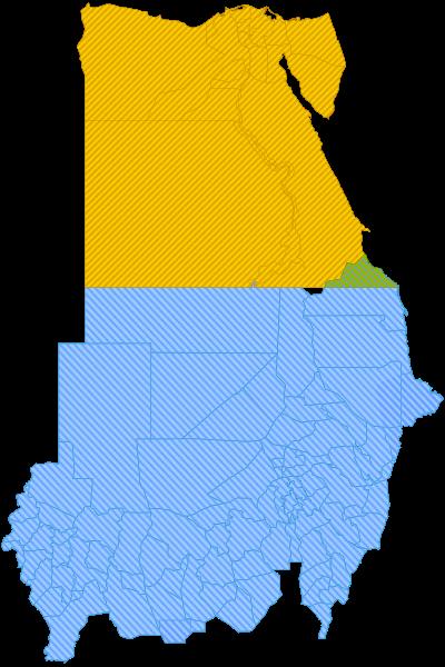 Arriba está Egipto, en amarillo y verde. Abajo está Sudán, en azul. Al centro, el espacio en blanco, es Bir Tawil