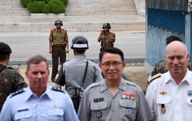 Frontera entre Corea del Norte (al fondo) y Corea del Sur | Jung Yeonje | POOL | AFP
