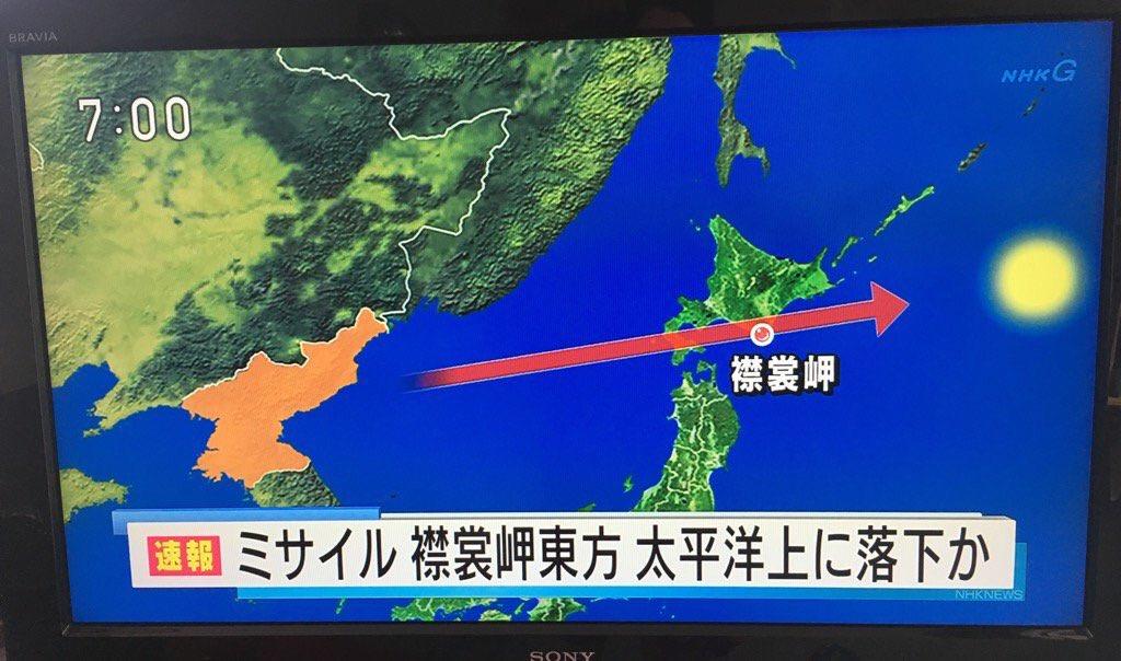 eventual trayectoria del misil