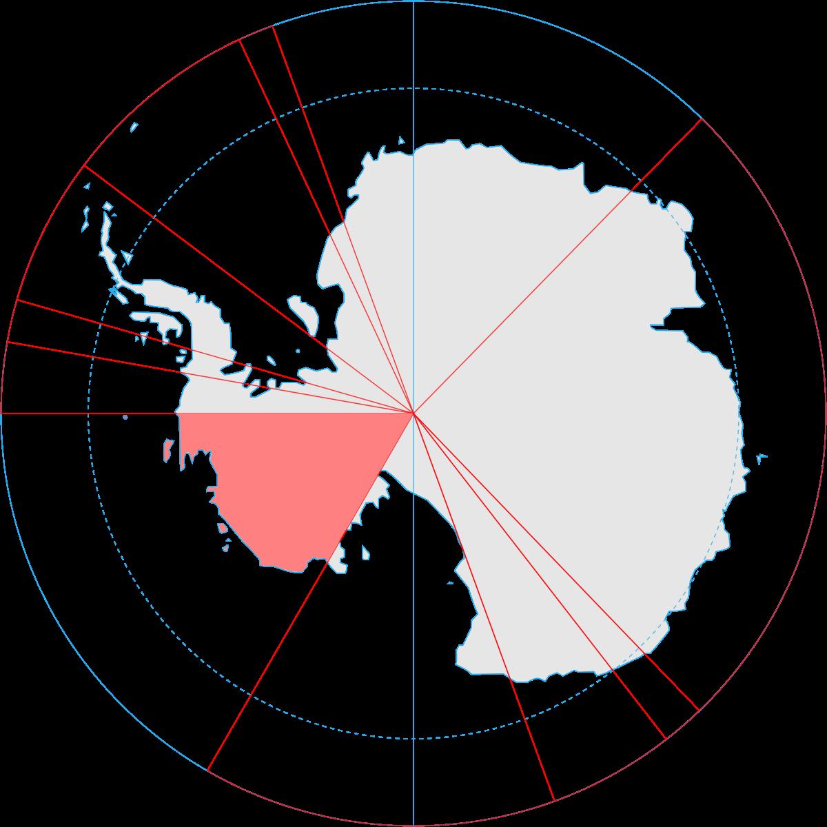 Tierra de Marie Byrd, marcada en rojo, en la Antártica