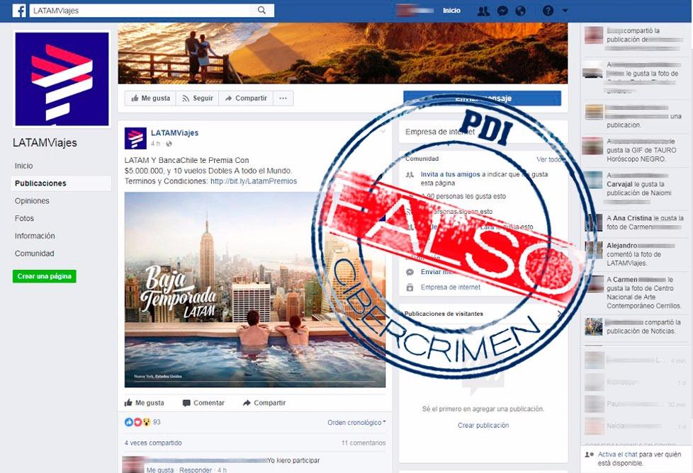 Detalle de la página falsa de Facebook.