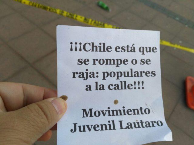 Panfleto encontrado en las afueras de las oficinas atacadas   Pedro Cid (RBB)