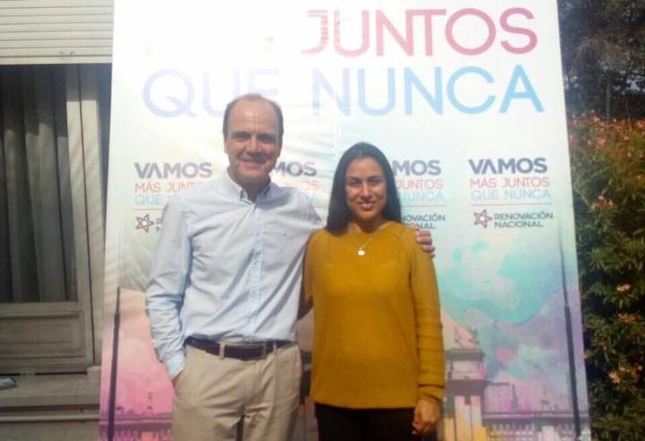 Francesca Muñoz junto a Cristian Monckeberg en abril pasado | Facebook