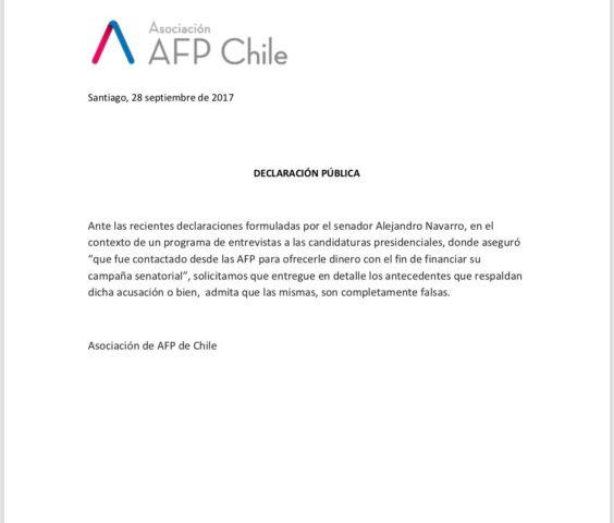 Declaración Pública | Asociación de AFP´s