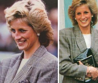 Princesa Diana de Gales con estilo Príncipe de Gales