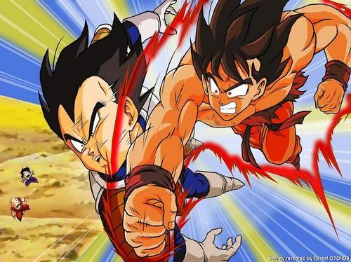 Gokú golpeando a Vegeta | Dragon Ball Z