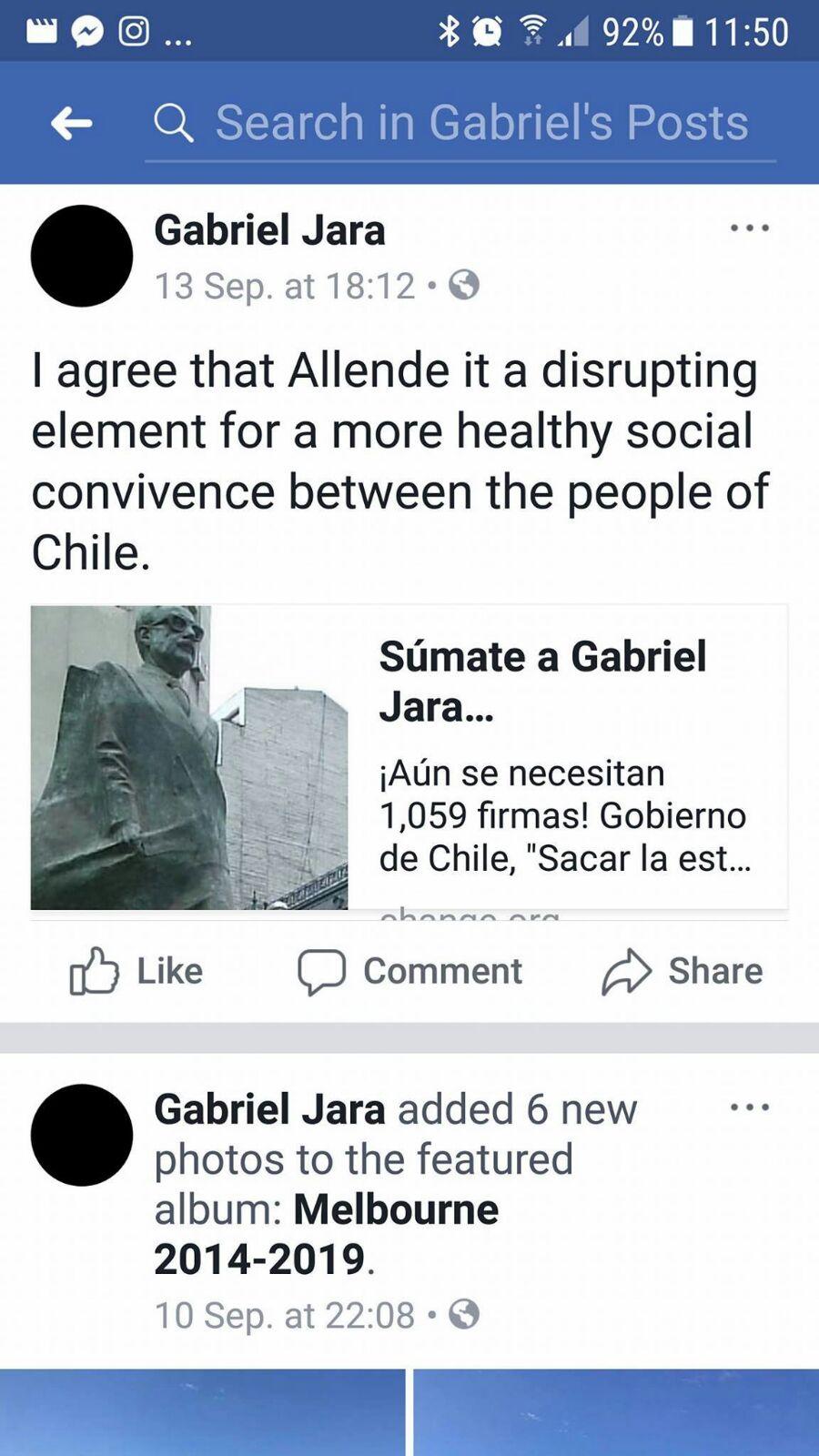 Pantallazo de Facebook.