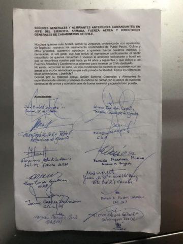Carta enviada por los internos de Punta Peuco.