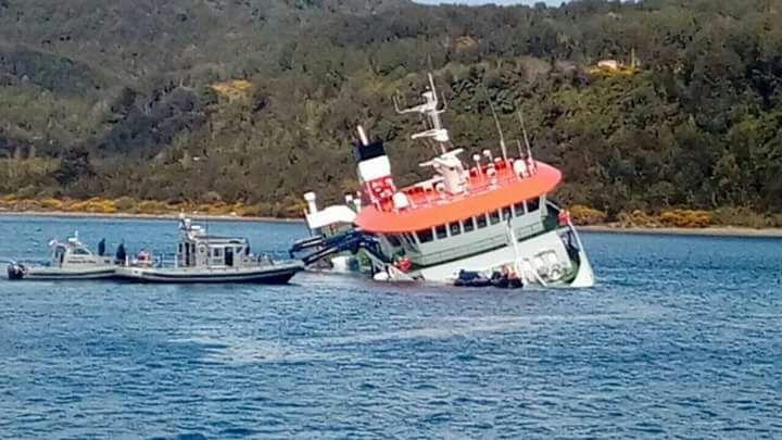 Armada descartó derrame de petróleo tras naufragio salmonero en Chiloé