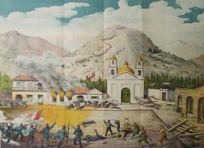 Litografía de 1904 que representa el combate de Concepción (Obra de Luis Fernando Rojas) | Wikimedia Commons