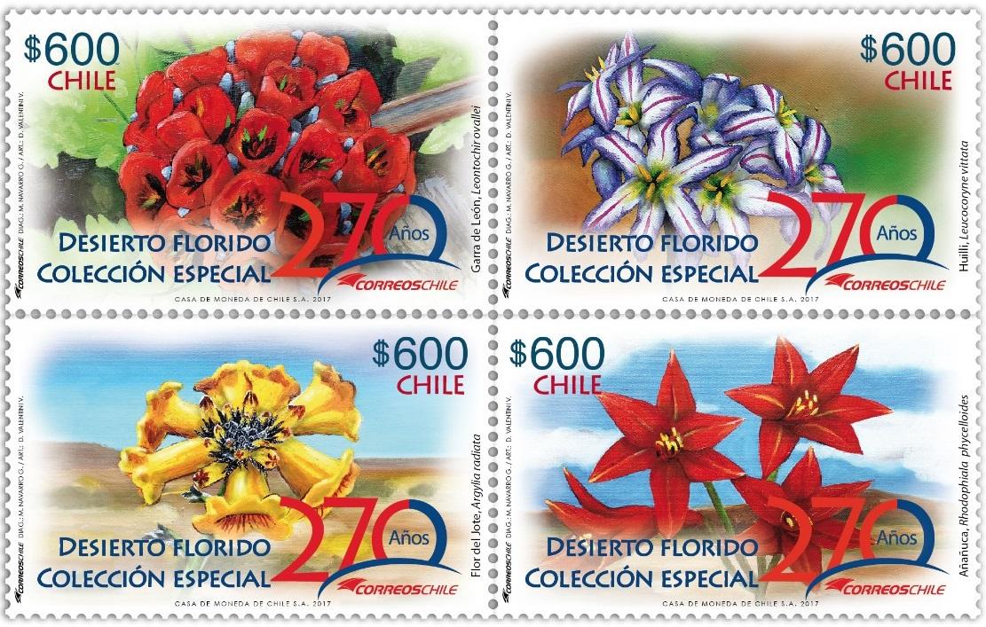 Colección del desierto florido por los 270 años del correo en Chile