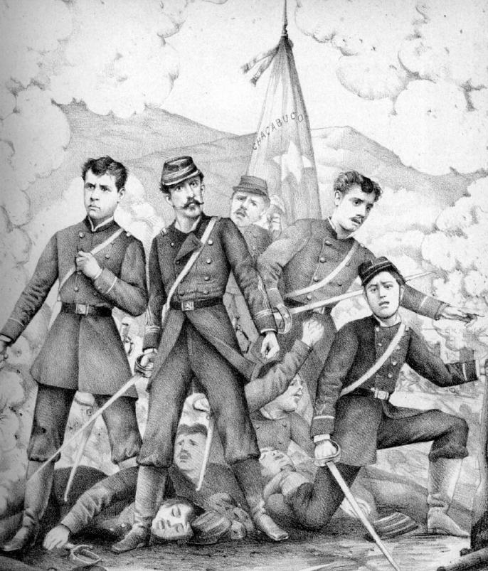 Soldados chilenos (de izquierda a derecha): Arturo Pérez Canto, Ignacio Carrera Pinto, Julio Montt Salamanca y Luis Cruz Martínez (CC) Wikimedia Commons