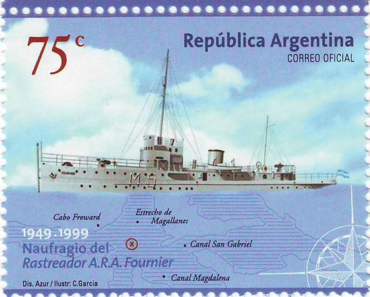"""Sello 50º Aniversario del Naufragio del ARA """"Fournier"""""""