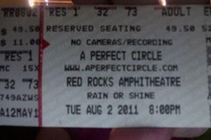 Ticket del concierto de APC en agosto de 2011.