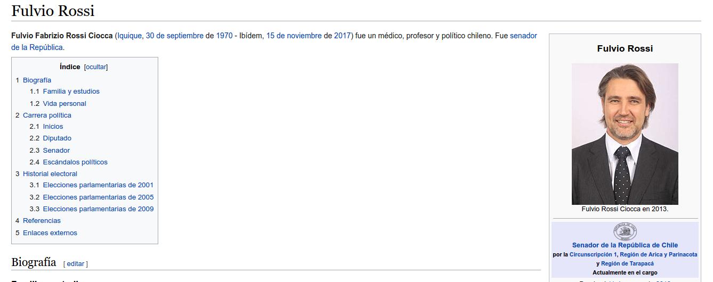 Captura | Wikipedia de Fulvio Rossi