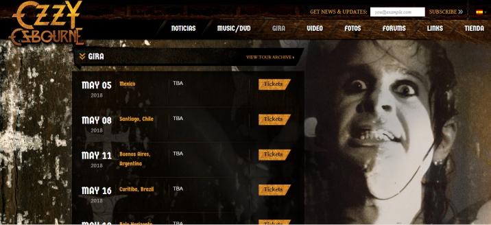 Sitio web de Ozzy Osbourne.