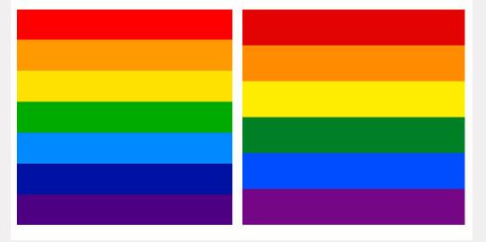 Bandera de Cusco (izquierda) | Bandera LGBTQ (derecha)
